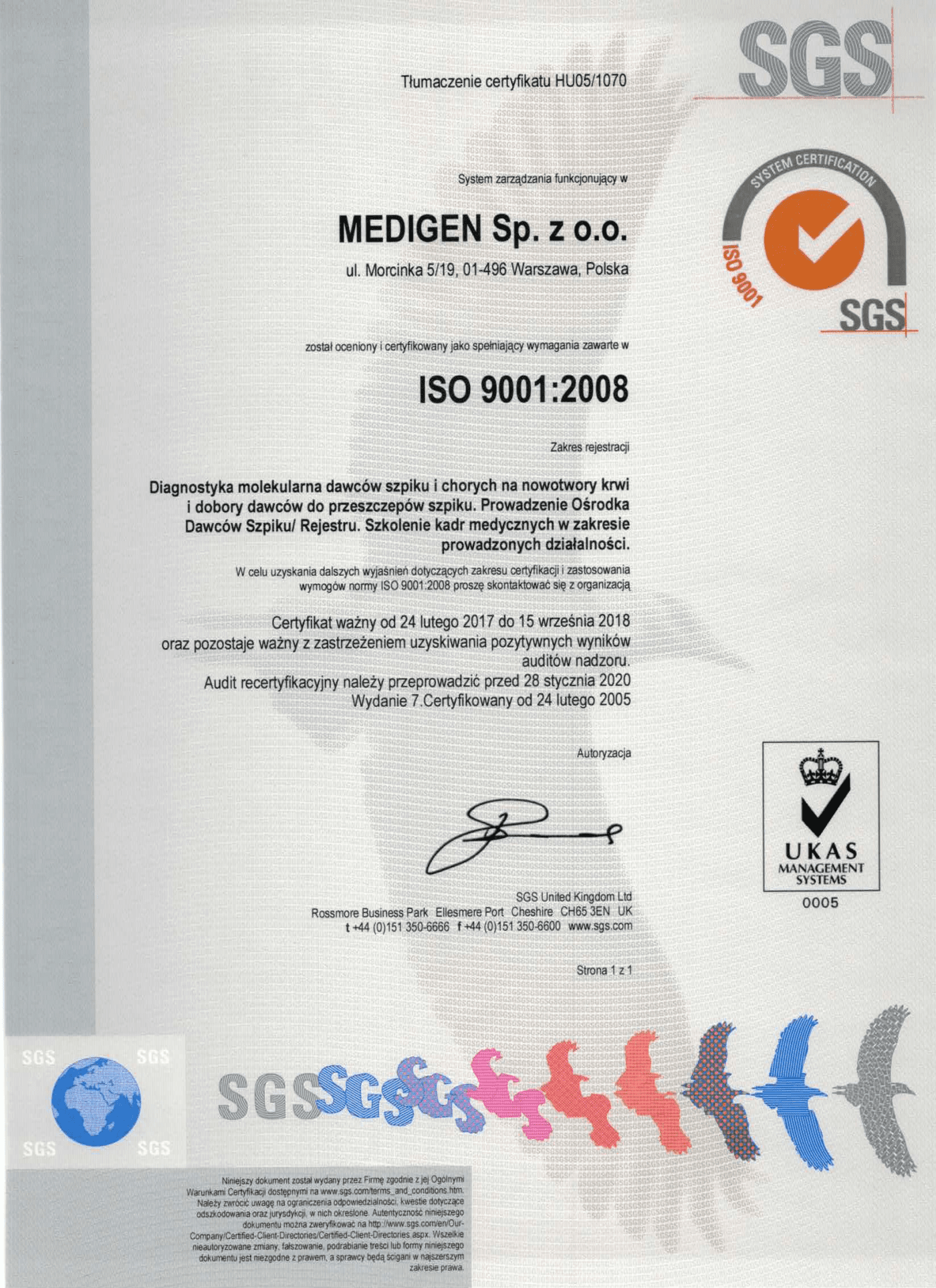 Certyfikat ISO wersja polska