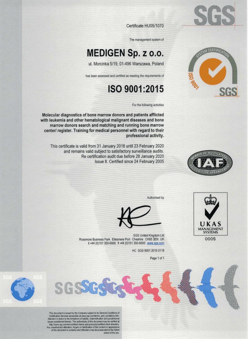 Certyfikat ISO Medigen wersja angielska